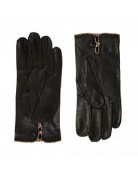 Paul Smith Multi Stripe Trim Leather Gloves - Black