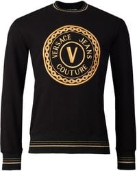 Versace Jeans Couture Chain Logo Crew Neck Sweat - Black