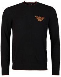 Armani - Chest Eagle Logo Crew Neck Knit - Lyst