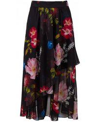 Ted Baker Berry Sundae Print Ruffle Midi Skirt - Black