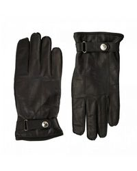 Paul Smith Ribbed Button Detail Leather Gloves - Black