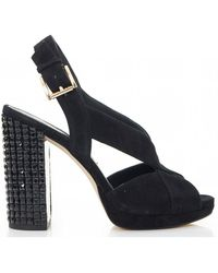 abf6e4f63e2a Lyst - Michael Kors Becky Black Suede Platform Sandals in Black