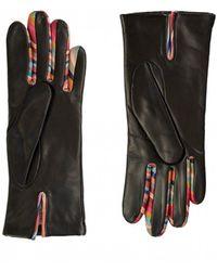 Paul Smith Leather Swirl Trim Gloves - Black