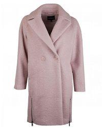 Emporio Armani Astrakhan-effect Cloth Coat - Pink