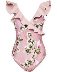 Ted Baker - Pink Harmony Print Low V Swimsuit - Lyst