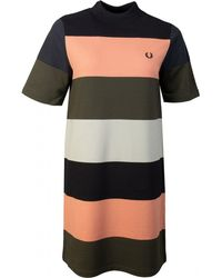 Fred Perry Striped Block Colour T-shirt Dress - Multicolour
