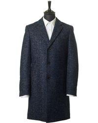 BOSS Black - Single Breasted Boucle Tweed Overcoat - Lyst