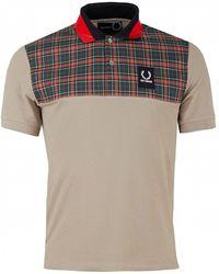 Fred Perry - Checked Yoke Cotton-piqué Polo Shirt - Lyst