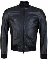 Armani Emporio Eco Leather Bomber Jacket - Black
