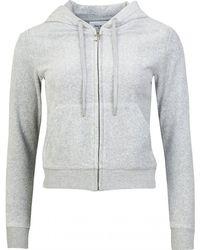 Juicy Couture Robertson Core Zip Through Velour Hoody - Gray