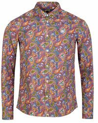Pretty Green Lescott Long Sleeved Paisley Shirt - Multicolour