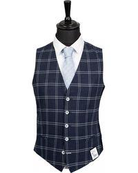 Remus Uomo Windowpane Check Waistcoat - Blue