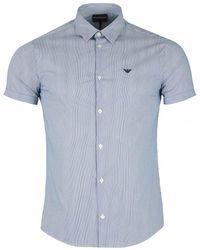 Armani Slim Fit Cotton Poplin Striped Shirt