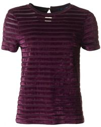 French Connection - Velvet Burn Out Short Sleeved Top - Lyst