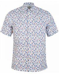 Paul Smith Short Sleeved Floral Shirt - Blue