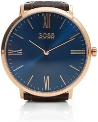 BOSS - Jackson Brown Strap Blue Dial Watch - Lyst
