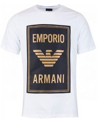 Armani Jersey T-shirt With Maxi Patch Logo - White