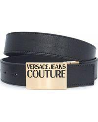 Versace Jeans Couture Reversible Logo Leather Belt - Black