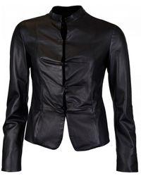 Emporio Armani Ruffle Detail Leather Jacket - Black