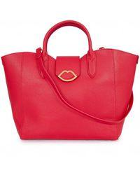 Lulu Guinness Leather Luella Handbag - Red