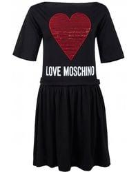Love Moschino Women's Heart Dress With Frill Skirt Black