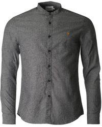 Farah - Steen Black Weave Grandad Collar Shirt - Lyst