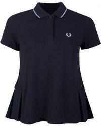 Fred Perry Pleated Polo Shirt - Blue