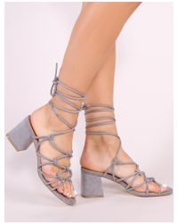d7eee7ad17 Public Desire Grier Block Heel Barely Theres In Nude Faux Suede - Lyst