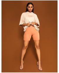 Public Desire Camel Roll Hem Sweat Shorts - Multicolour