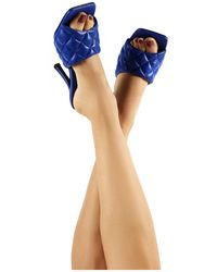 Public Desire Bossy Blue Pu Quilted Heeled Mules