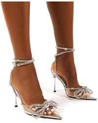 Public Desire Midnight Clear Perspex Wrap Around Diamante Bow High Heel - Brown