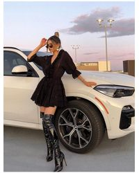 Public Desire Ruthless Over The Knee Boots In Black Patent