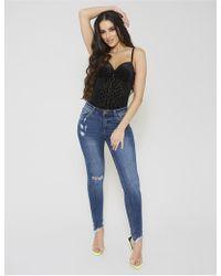 Public Desire Blue Rip Detail Skinny Jeans