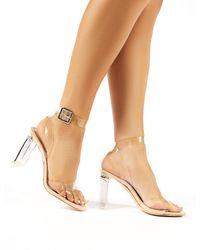 Public Desire Talk Wide Fit Nude Patent Perspex Block Heels - Natural