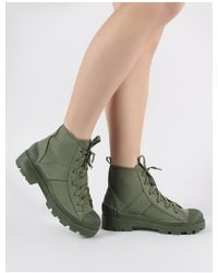 Public Desire Greenland Ankle Boots In Khaki Canvas