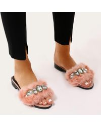 Public Desire - Julee Embellished Faux Fur Slider In Pink - Lyst