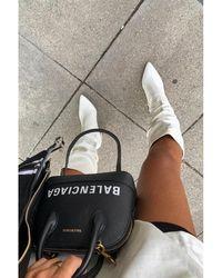 Public Desire Mine White Slouch Knee Boots
