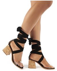 02ff675bbe3 Vogue Black Faux Suede Lace Up Cork Block Heels