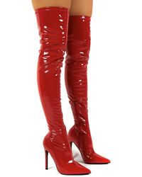 Public Desire Confidence Red Patent Stiletto Heeled Over The Knee Pu Boots