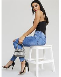 Public Desire Blue Ripped Knee Jeans