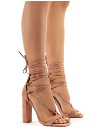 Public Desire Frankie Wide Fit Nude Suede Lace Up Block High Heels - Natural