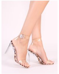 a19a36901a55 Public Desire - Slice Strappy Perspex High Heels In Leopard Print - Lyst