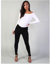 Public Desire Black Fray Hem Cropped Skinny Jeans