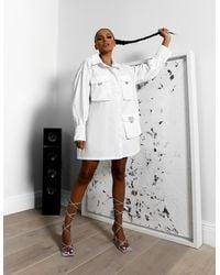 Public Desire Amber X Pocket Detail Oversized Shirt White