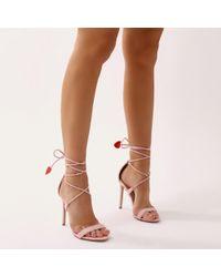 Public Desire - Venus Heart High Heels In Pink Faux Suede - Lyst