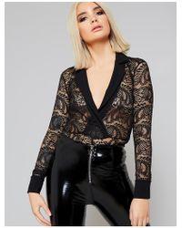 Public Desire Black Lace Tuxedo Bodysuit
