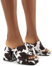 Public Desire Oreo Cow Print Mono Chunky Heel Mules - Brown