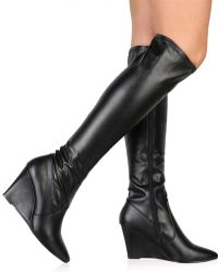 Public Desire - Katia Long Boots In Black - Lyst