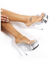 Public Desire Teaser Clear Perspex Platform Stiletto Heels - Multicolor