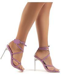 Public Desire Kisses Lilac Patent Perspex Stiletto High Heels - Purple